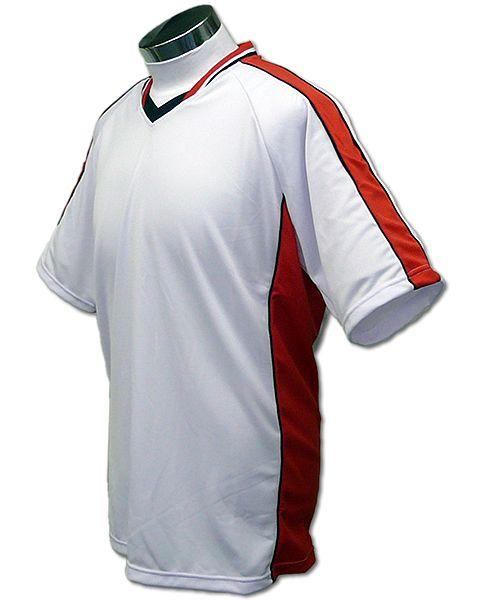 学割クラスTシャツサッカーユニフォーム A01タイプ 白/赤の画像
