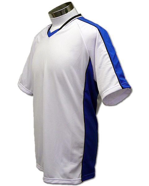 学割クラスTシャツサッカーユニフォーム A01タイプ 白/青の画像