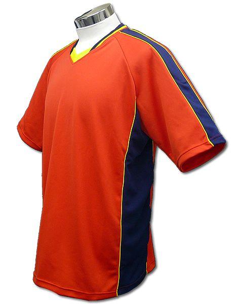 サッカーユニフォーム A01タイプ 赤/紺の画像
