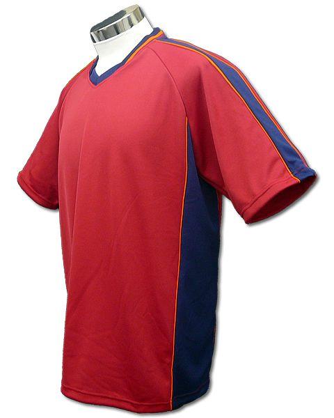 サッカーユニフォーム A01タイプ エンジ/紺の画像