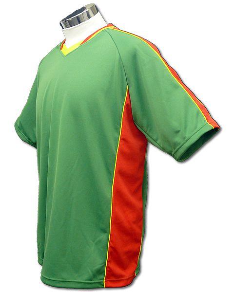 サッカーユニフォーム A01タイプ 緑/赤の画像