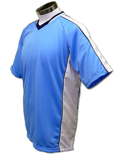 学割クラスTシャツサッカーユニフォーム A01タイプ スカイ/白の画像