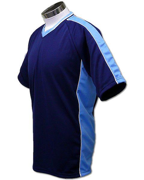 学割クラスTシャツサッカーユニフォーム A01タイプ 紺/スカイの画像