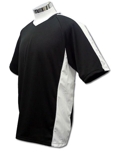 学割クラスTシャツサッカーユニフォーム A01タイプ 黒/白の画像