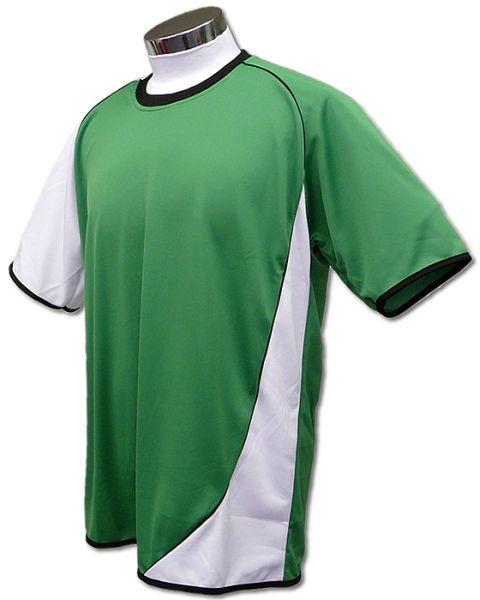 学割クラスTシャツサッカーユニフォーム A02タイプ 緑/白の画像
