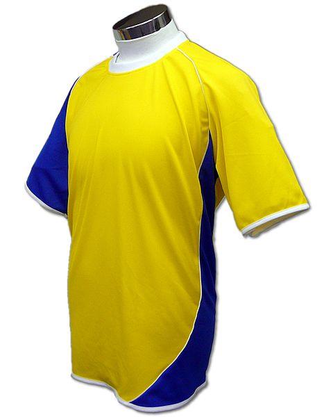 学割クラスTシャツサッカーユニフォーム A02タイプ 黄/青の画像
