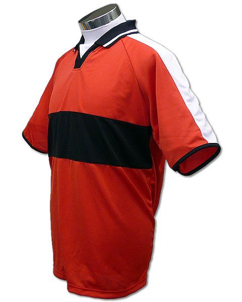 学割クラスTシャツサッカーユニフォーム A03タイプ 赤/黒の画像