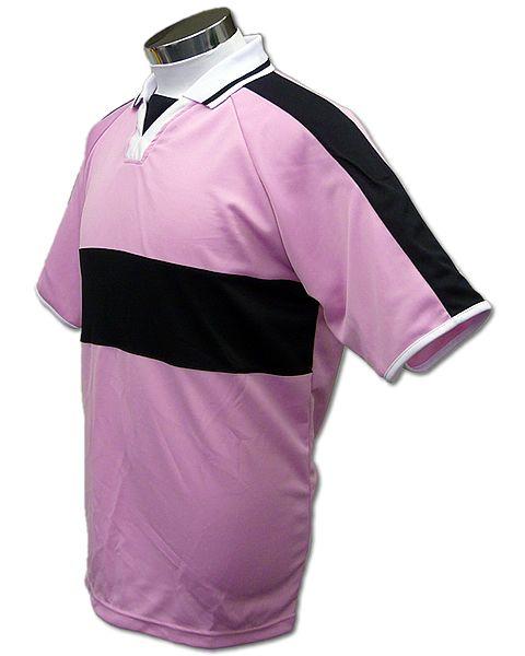 学割クラスTシャツサッカーユニフォーム A03タイプ 桜色/黒の画像
