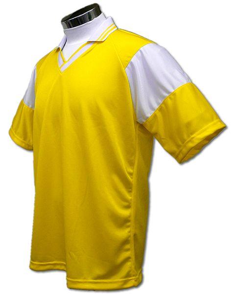 学割クラスTシャツサッカーユニフォーム C01タイプ 黄/白の画像