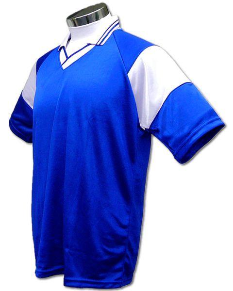 学割クラスTシャツサッカーユニフォーム C01タイプ 青/白の画像