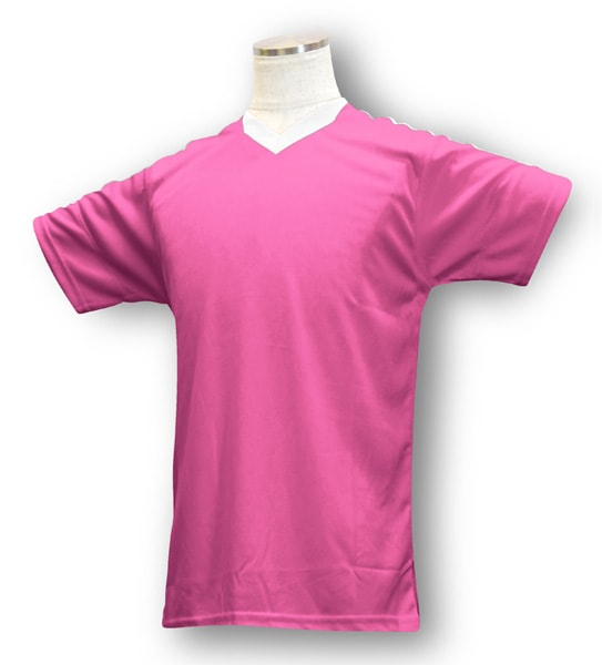 学割クラスTシャツサッカーユニフォーム B04タイプ ピンク/白の画像