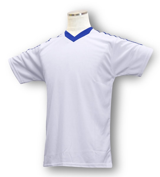 学割クラスTシャツサッカーユニフォーム B04タイプ 白/青の画像