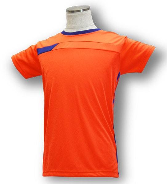 学割クラスTシャツサッカーユニフォーム B06タイプ 蛍光橙/青の画像