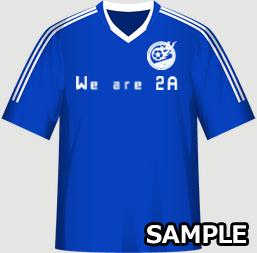 キックターゲットを催すクラスにオススメ!サッカーユニフォームでクラスTシャツ!の画像